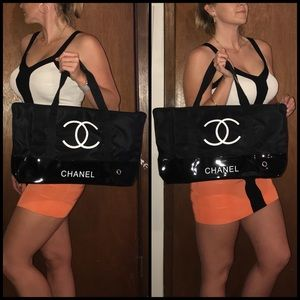 CHANEL VIP Tote Travel Gym Duffle Bag Purse NEW